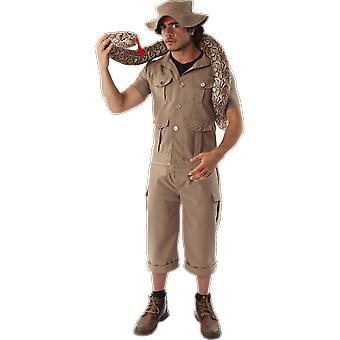 Mens kaki Safari jungle Explorer Suit dierentuin keeper uniform fancy dress