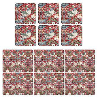 Pimpernel Strawberry Thief Placemats and Coasters Red Set of 6