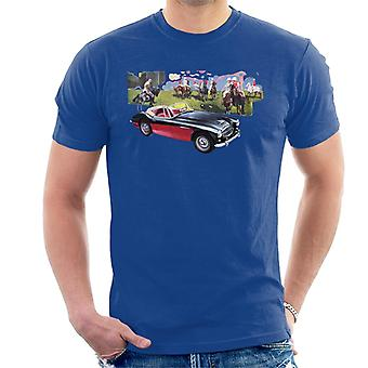 Austin Healey Background Of Sport Horses British Motor Heritage Men's T-Shirt