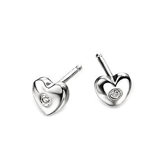 D for Diamond Silver Heart Earrings