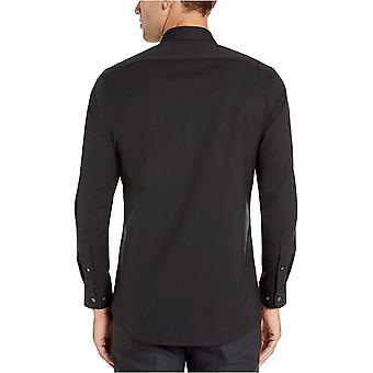 Essentials Men's Slim-Fit Falten-resistente Stretch Kleid Shirt, Schwarz...