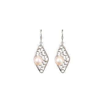 Zilveren oorbellen en parels van witte culturen -Pearl en Losange Ajourés;
