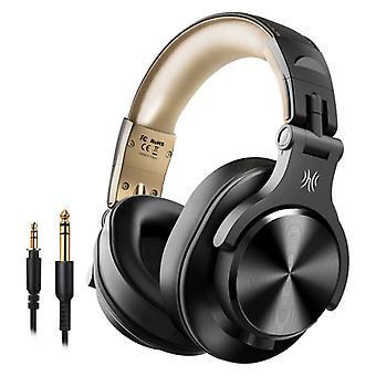"""אוזניות Bluetooth סטודיו OneOdio Fusion A70 עם חיבור AUX 6.35 מ""""מ ו- 3.5 מ""""מ - אוזניות עם מיקרופון DJ אוזניות זהב"""