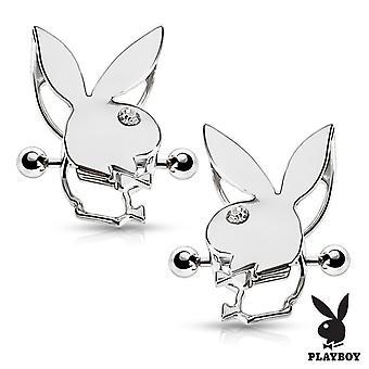 Par de escudos de mamilos com coelhinho da Playboy de dupla categoria 14g