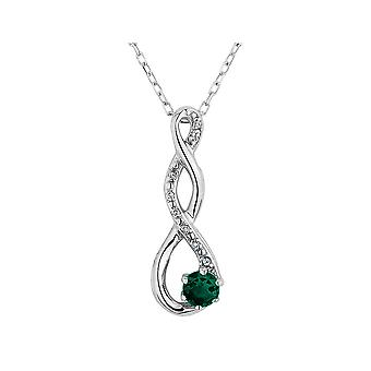 Lab-Created Emerald Infinity Pendant Necklace in Sterling Silver with Chain