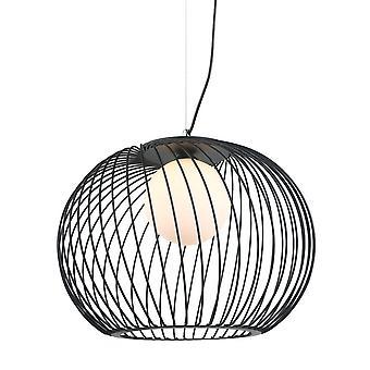 Italux Clarisa - Pendentif suspendu moderne Noir 1 Lumière à l'ombre blanche, E27