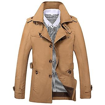 Mens Autumn Slim Fit Brand Windbreaker Long Coat