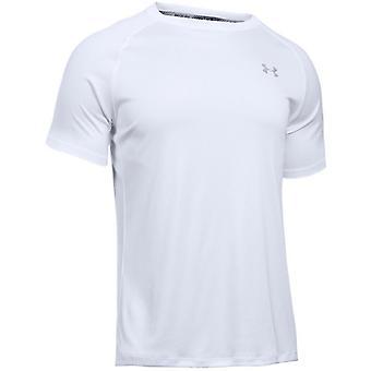 Under Armour Mens Heatgear Run T-Shirt Plain White Top 1289681 100