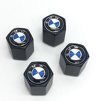 BMW Blue Set of 4 Black Anti-Theft Car Tyre Air Dust Valve Stem Cap