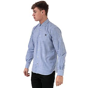 Men's Henri Lloyd Striped Fancy Cotton Regular Fit Shirt en Bleu