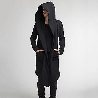 Casual Open Stitch Hooded Long Mantie Cape Coat