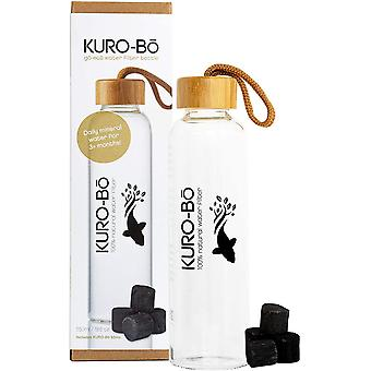 KURO-Bō Glass Water Filter Bottle 550ml - Includes Koins and Neoprene Carrying Sleeve (550ml)