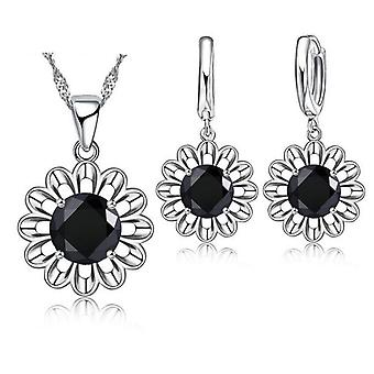 925 Sterling Silver Wedding Crystal Pendant Necklace Jewelry Set