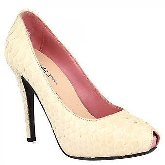 Leonardo Sko Kvinner's håndlaget høye hæler plattform peep toe pumper sko i hvitt python skinn