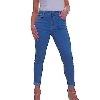 Women's High Rise Slim Fit Jeans Ladies Roll Up Cuff Soft Stretch Denim Jeans