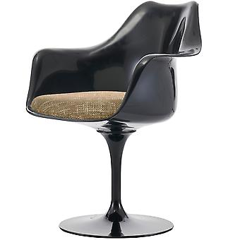 Fusion Living Black And Textured Beige Tulip Style Fauteuil