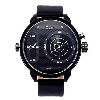 OULM 3221B Dual Time Zone Big Dial Creative Watch Unikt design Mænd Quartz Watc