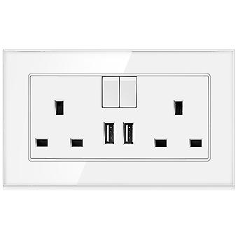 13a Uk Standard Glass Panel Two-slot Wall Switch Socket With 2x Usb