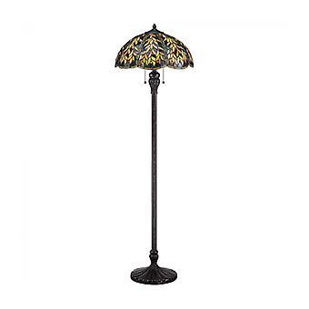 Belle Lámpara De Taart, Bronce Imperial Y Vidrio Tiffany