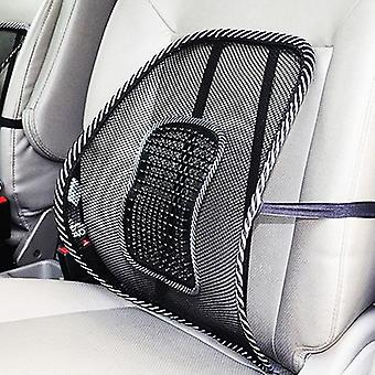 Universal car back lumbar support pad with massage beads (black)