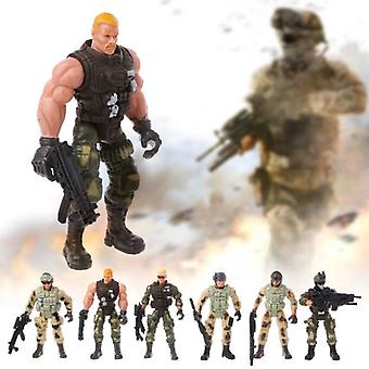 6pc Action Army Soldiers Toy With Weapon Military Figure