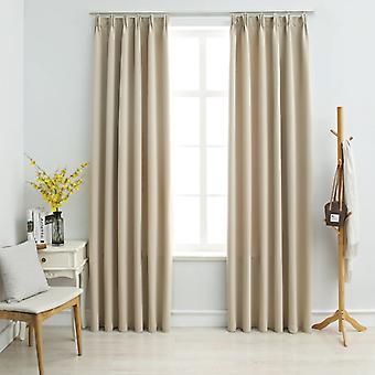 vidaXL rideaux d'obscurcissement avec crochet 2 pcs. Beige 140x175cm