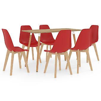 7 Piece Dining Set Red