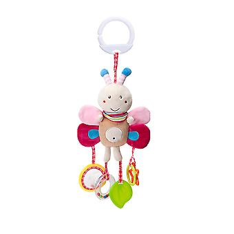 Lovely Bee Rattling Doll Cute Baby Hanging Toys With Mirror Sound Paper Teether Sound Ring For Children Soft Plush Rattle Toys