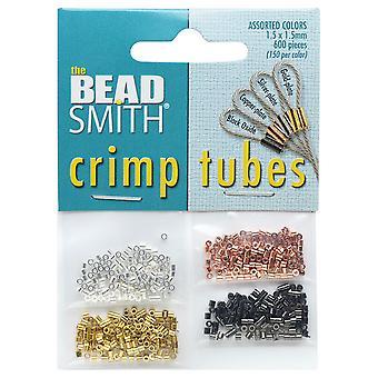 Beadsmith Crimp Pärlor, Rör 4 Pack 1.5x1.5mm, 600 Stycken, 4 Metallfärger