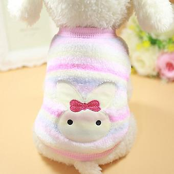 Dog cat clothes spring and autumn cartoon striped vest small dog warm hoodie