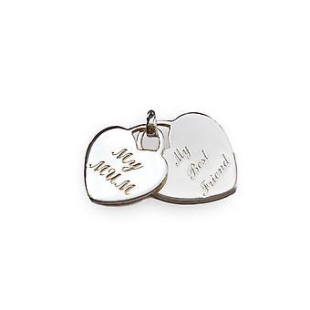 Principios 925 Sterling Silver Womens Grabado Mi madre, mi mejor amigo corazón forma etiqueta collar colgante Longitud 41cm