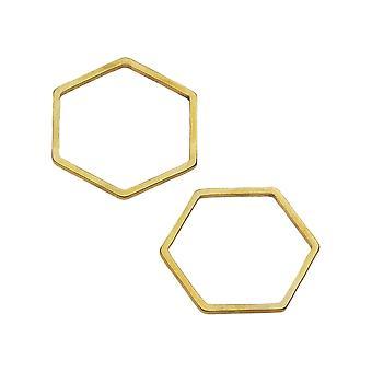 Beadable Open Frame Link, Hexagon 18mm, 4 Pieces, Gold Tone Steel