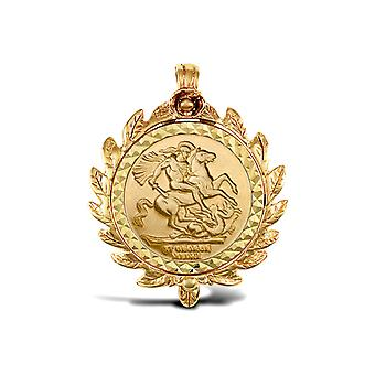 Jewelco London Solid 9ct Gold Caeser Crown Frame St George & Dragon Medallion Pendant (Full Sov Size)