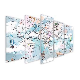 Tableau 5 parties enfant carte du monde en alphabet cyrillique - 150x80 cm