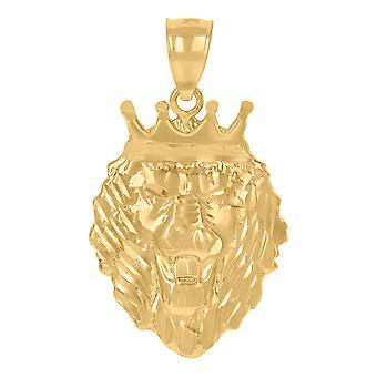 10k צהוב זהב Mens Leo / אריה בעלי חיים גלגל המזלות סימן / חיות בר קסם תליון שרשרת מידות 31.5x18.2mm רחב תכשיטים מתנות
