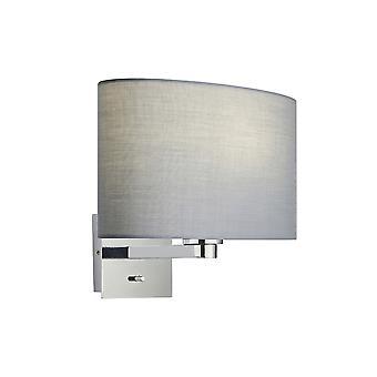 Applique murale plaque chromée, tissu gris abat-jour ovale avec prise USB