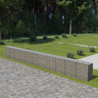 vidaXL Gabionenwand mit Abdeckung Verzinkter Stahl 900×50×100 cm