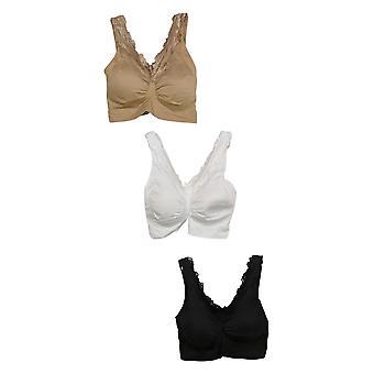 Rhonda Shear 3-pack Lace-Trim Seamless Ahh Bra Beige Bra Set 743023