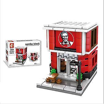 City street restaurant blocs de construction modèle de jeu pour enfants mini cadeau,copoz az4954