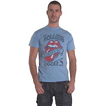 Rolling Stones T Shirt Europe 82 Tour Band Logo ny Offisiell Mens Stone Blue