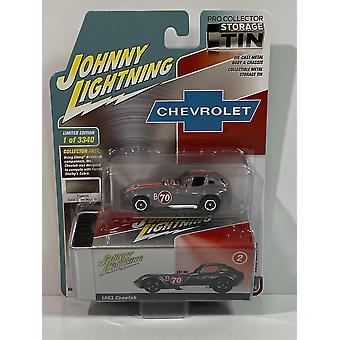 1963 Chevrolet Cheetah with Storage Tin 1:64 Silver Johnny Lightning JLCT004B