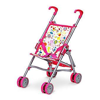 Doll Stroller Pink White