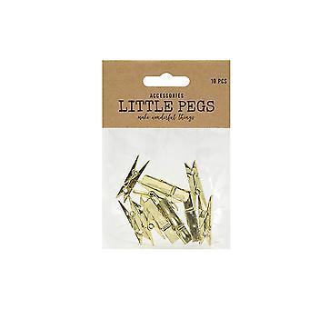 ÚLTIMOS POCOS - 10 plásticos 35mm metalizado oro Midi Pegs para artesanías   Formas de madera para artesanías