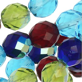 Czech Fire Polished Glass Beads, Faceted Round 10mm, 50 Pieces, Gemtones Mix