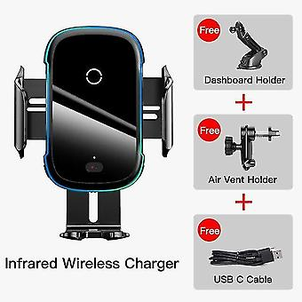 Black 2 in 1 15W wireless car charger for Huawei Samsung Xiaomi mobile phone holder