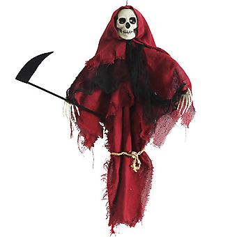 Homemiyn Halloween Red Grim Reaper Hanging Ghost Scary Pendant Skull Ghost Indoor And Outdoor Party Decoration