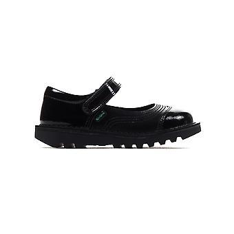 Kickers Kick Pop skórzane przedszkòli dziewczyny moda buty czarny
