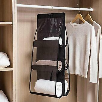 (Sort) 6 lommer hængende håndtaske Arrangør garderobe skabe opbevaringsholder hyldeposer