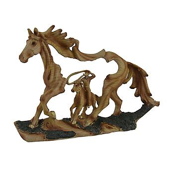 Reigning In Roping Cowboy and Horse Decorative Wood Look Statue