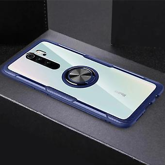 Keysion Xiaomi Mi 10 Case with Metal Ring Kickstand - Transparent Shockproof Case Cover PC Blue